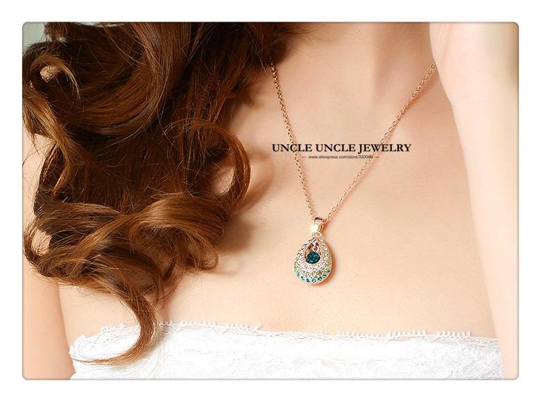 роза золото цвет ее принцесса дизайн зеленый капли воды Австрии rustle леди ювелирные наборы серьги/цепочки и ожерелья