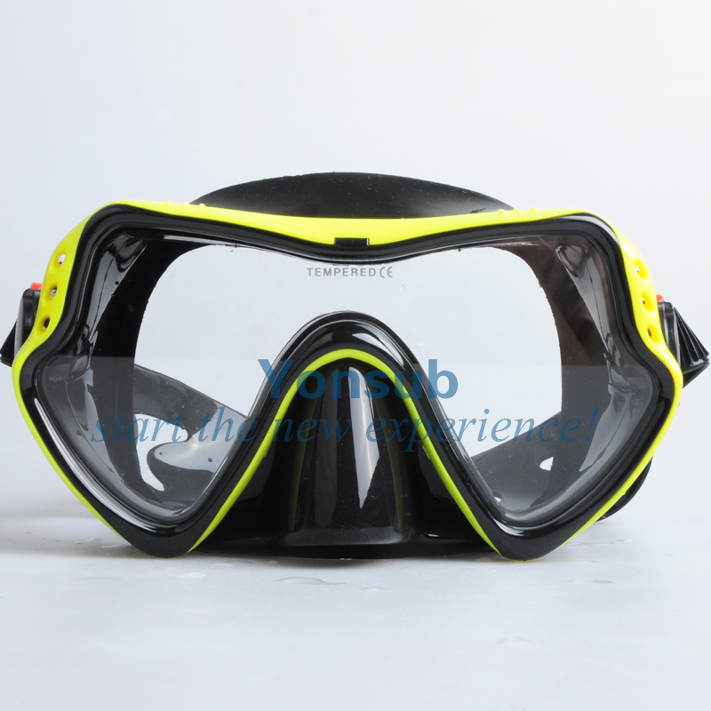 besplatno Visokokvalitetna staklena maska za ronjenje i set za ronjenje s gumenom ronilačkom opremom može roniti YM281 + YS01red