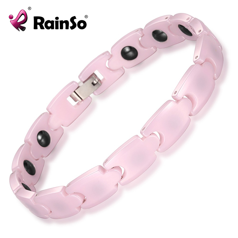 RainSo Bio Energy Ceramic Bracelet Bangle Hematite Health Chain Charms for Women Jewelry pink bracelet ORB-187P