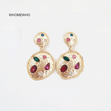 Earring Summer Gold Silver Hammered Metal Colorful Acrylic Stone Minimalism Earrings Korean Fashion Chic Bridal Party Jewelry