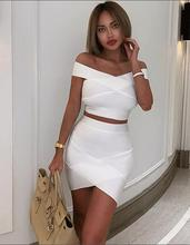 Free Shipping New Summer Dress Women 2019 Sexy Off the shoulder 2 Pieces White Bandage Elegant Party Vestido