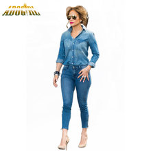 8ad782053122 Adogirl 2017 Women Jeans Denim 2 Pieces Turn-Down Collar Jumpsuit Full  Sleeve Long Rompers Bodycon Overalls With Pockets Suits