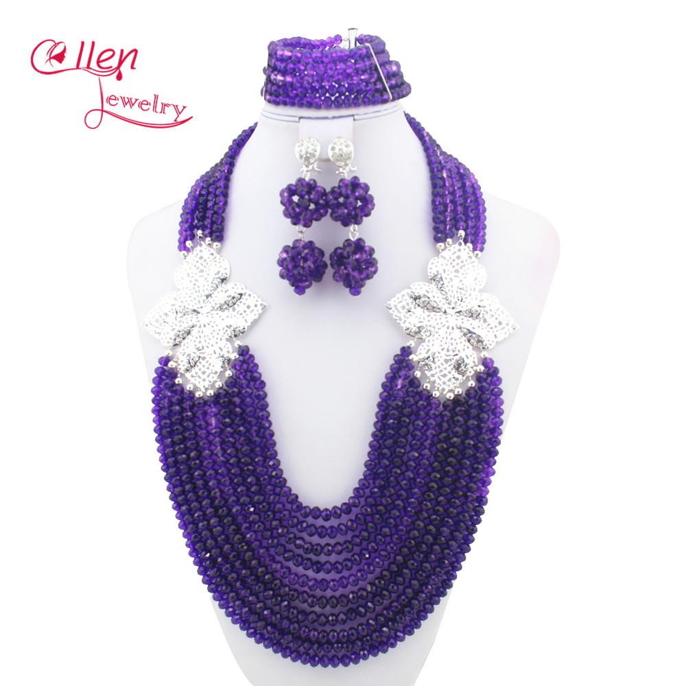 2017 Fashion Nigerian Wedding Bridal Beads Jewelry Set African Beads Jewelry Sets Style Crystal