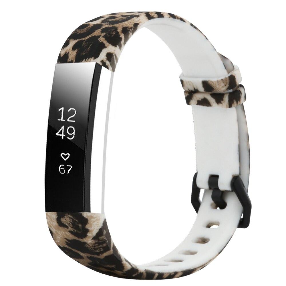 Correa de silicona con diseño de leopardo para Fitbit Alta HR/Alta pulsera de correa de reloj inteligente para un ajuste de Alta bandas HR reemplazo