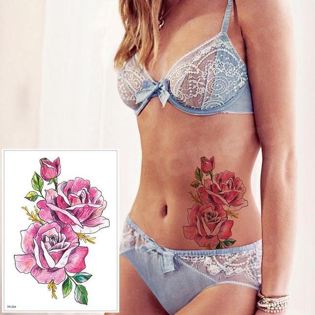 waterproof tattoo stickers bikini peony tattoo & body art flower rose tattoo fake water transfer tattoo temporary tatoo leg arm 3
