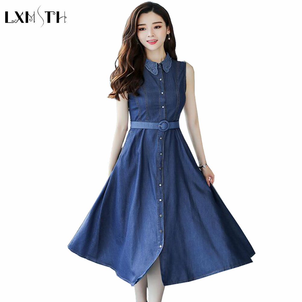 LXMSTH Belted jeans Dress Woman Summer New Fashion A Line Slim Denim Dress Women 2019 Casual