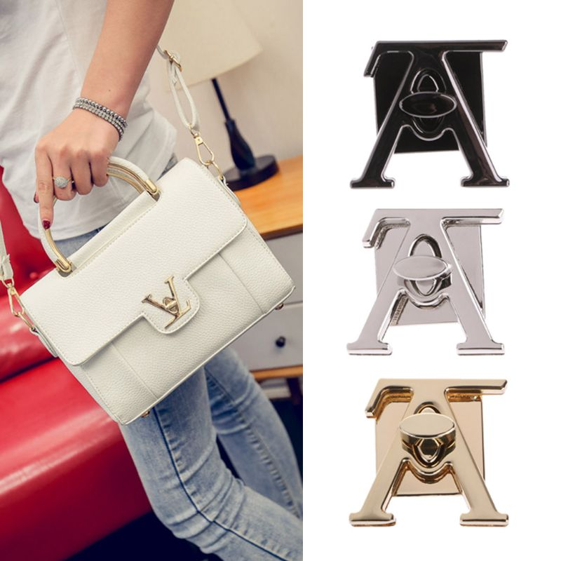 Fashion New 1 Pc V Shape Clasp Turn Lock Twist Locks Metal Hardware For DIY Handbag Bag Purse Part Accessories 3 Colors