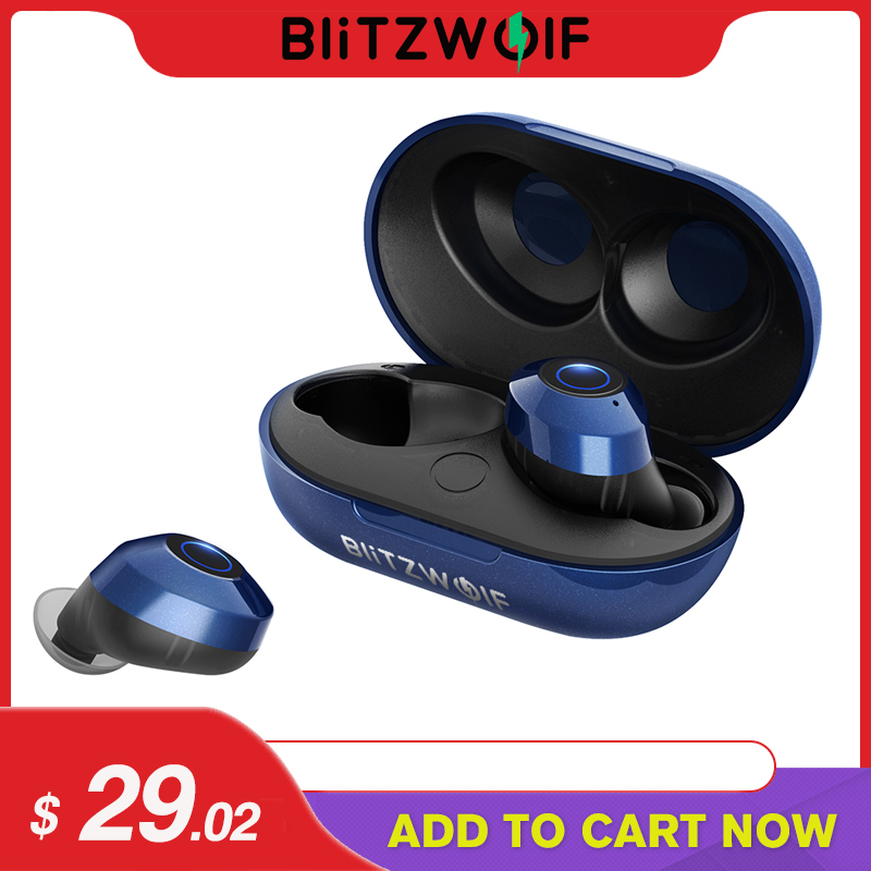 Blitzwolf FYE5 Bluetooth 5,0 Drahtlose Wahre Kopfhörer TWS Sport Earbuds 10M Anschluss Stereo Kopfhörer IPX6 Wasserdicht Blau Schwarz