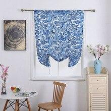 Nodic Stil Blaue Blume Drucken Blackout Vorhang für Wohnzimmer Kid Schlafzimmer Tür Dekoration Fenster Hebe Vorhang Solide Heißer