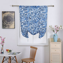 Nodic Style Blue Flower Print Blackout Curtain for Livingroom Kid Bedroom Door Home Decoration Window Lifting Curtain Solid Hot