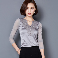 Autumn Mesh Patchwork T Shirt Women Lace Embroidery Good Stretch Tops Long Sleeve Knitted T Shirt