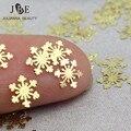 100 Unids/bolsa Nuevo 3D del Metal del Oro Nail Art Sticker Decoración Flor de Nieve Diseño Minúsculo Pedazo DIY Joyería Del Clavo de La Manicura Oro accesorio