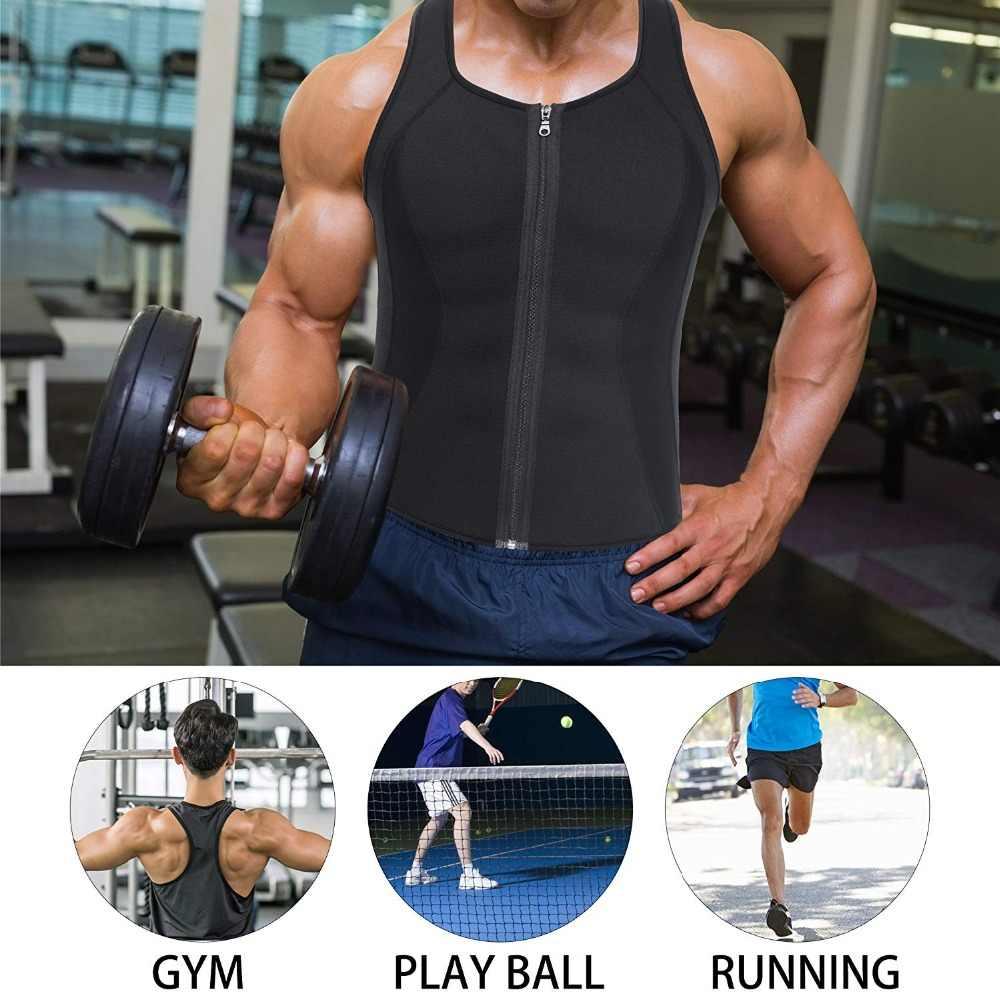 Черный спортивный жилет на молнии для мужчин для похудения, неопреновый корсет для тела, сауна, майка для тренировки