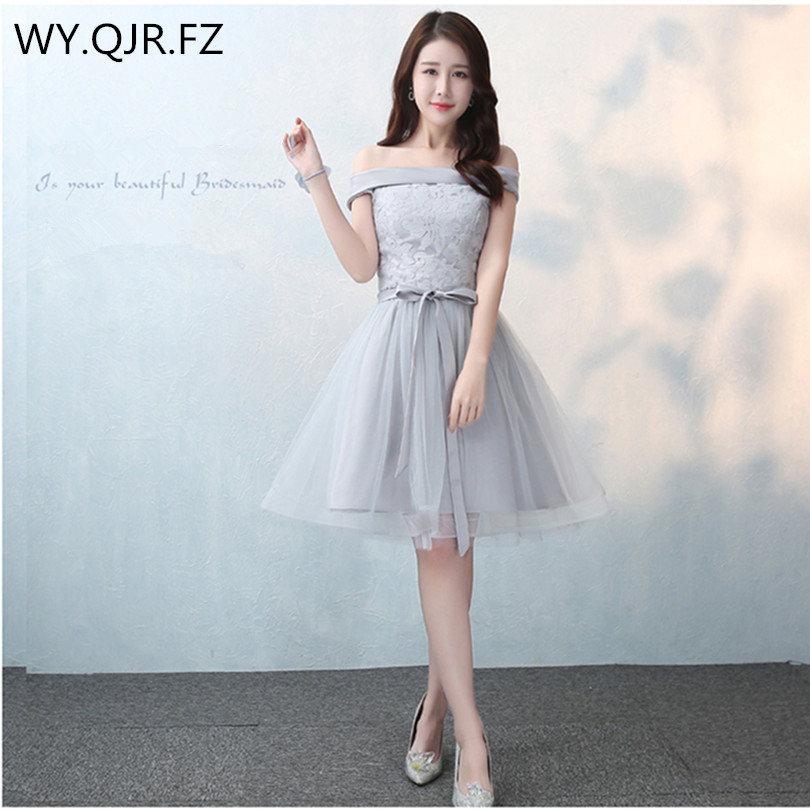 SJZL0316C#Lace up boat neck gray new bridesmaid dresses short spring ...