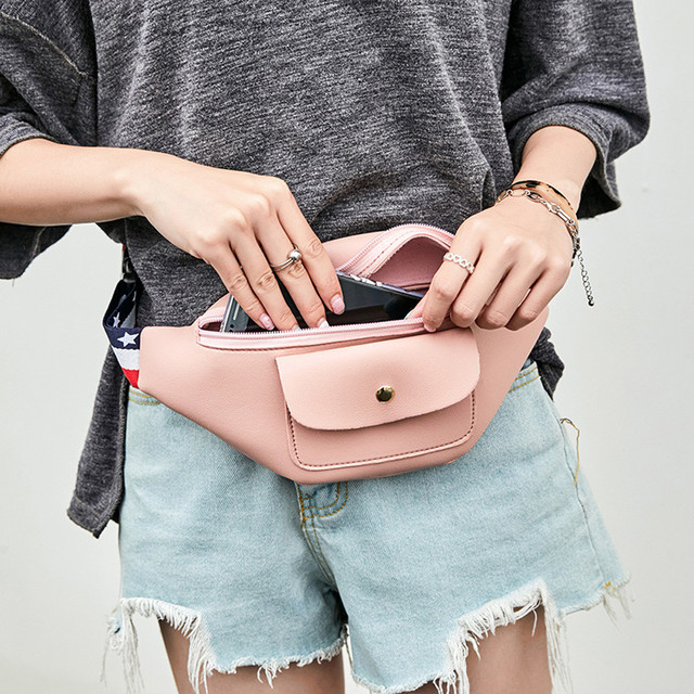 2018 Women Fashion Solid Color Zipper Waist Pack Phone Bag Girls Chest Bag Female Pouch Zip Fanny Pack Multi-Function Waist Bags