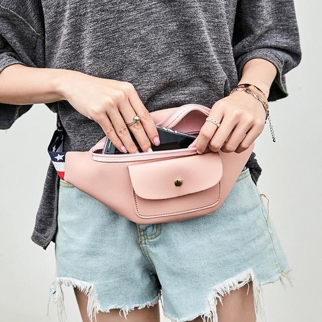 2018 Для женщин модные однотонные Цвет молния талии пакет телефон сумка девушки груди мешок женский Чехол На Молнии Поясная Сумка Multi- функция Поясные сумки