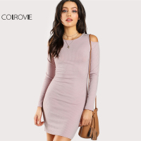COLROVIE 2017 Party Dress Pink Round Neck Long Sleeve Cold Shoulder Short Dress Women Elegant Open