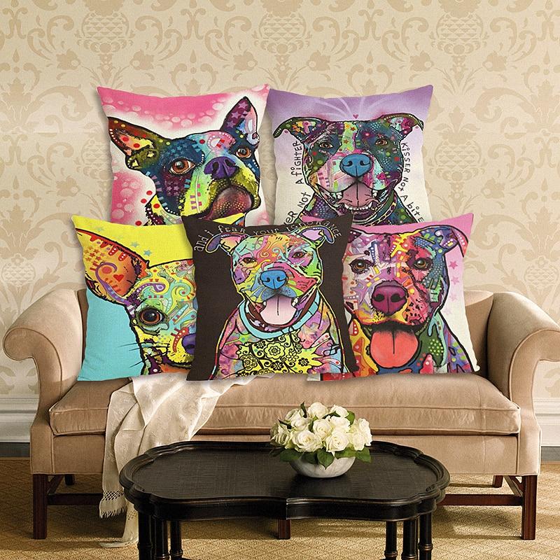 新しい到着犬クッションカバー漫画リネン投球枕カバー装飾枕ケース家の装飾45×45センチクッションケース