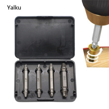 Yalku 4pc Double Side Damaged Screw Extractor Drill Bits S2 Alloy Steel Out Remover Bolt Stud Tool Dril Bit Set Screw Extractor