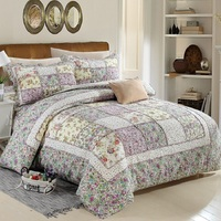 CHAUSUB Korean Patchwork Quilt Set 3PCS/4pcs Quilted Bedspread Bed Cover Sheets Washed Cotton Bedding Duvet Cover King Quilts