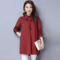 Women Shirts 2017 Spring New Long Sleeve Solid Color Blouses Cotton Linen Tops Casual Peter Pan