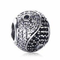 Für Pandora Armband DIY Machen 925 Sterling Silber Authentische Yin Yang Tai Chi Charms Mikro pflastern zirkon Perlen Buddhismus Schmuck