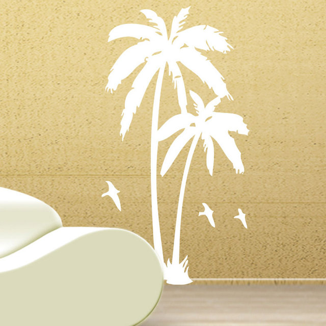 Carved coconut trees Wall Sticker Living room bedroom background ...