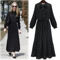 autumn women new fashion long sleeve chiffon print polka dot peated chiffon long dress women plus size chiffon print dress