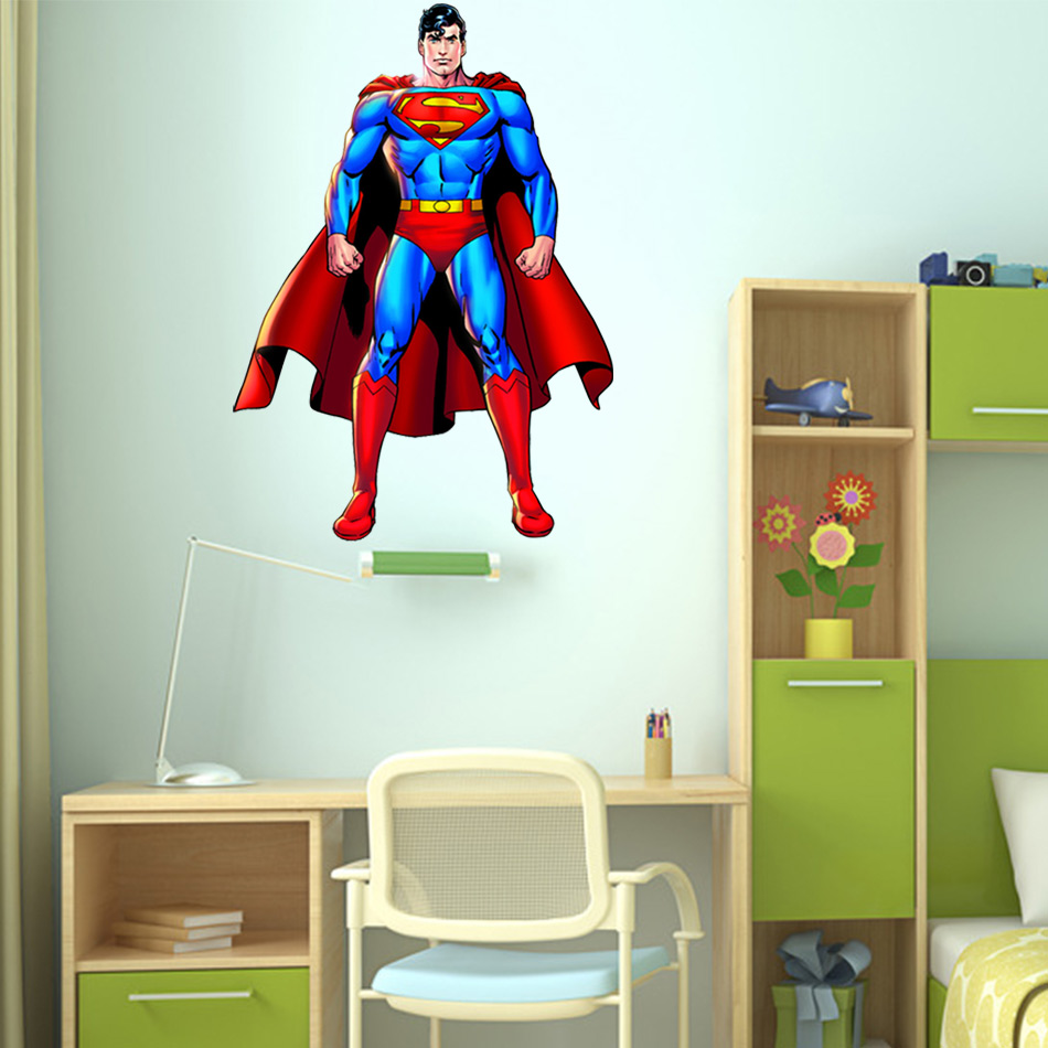 Superman wall sticker decor decal vinyl room art comics decals 3d superman wall sticker decor decal vinyl room art comics decals 3d superhero wall stickers for kids room wallpapers in wall stickers from home garden on amipublicfo Images