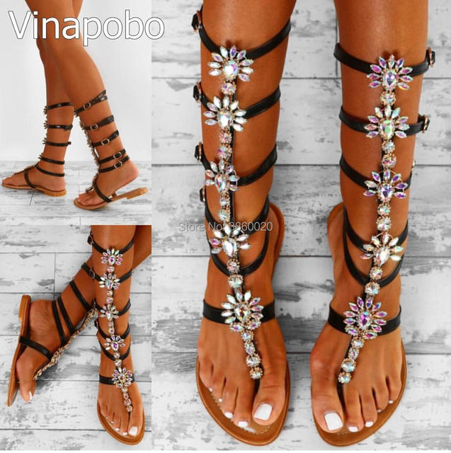 bcfe61258628eb Vinapobo Bohemia Rhinestone Knee High Gladiator Flat Sandals Women Summer  Crystal Beach Shoes Women sandalia plus Size 35-43