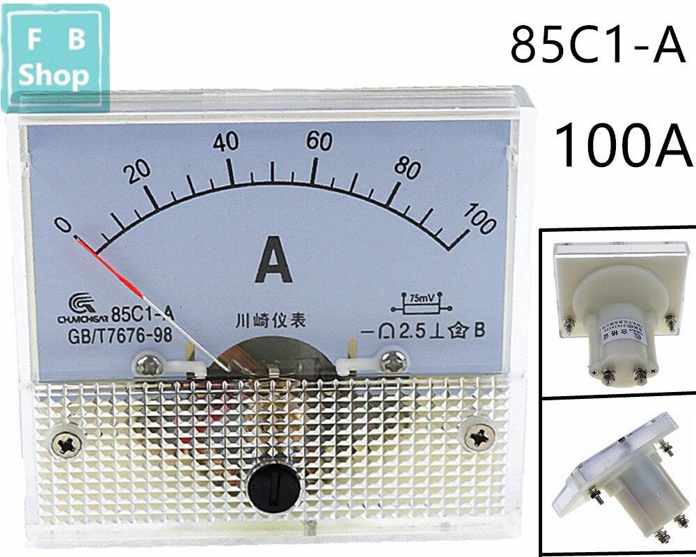 1 шт. 85C1-A 100A DC аналоговый измеритель Панель Ампер тока амметры 85C1 0-100A датчик