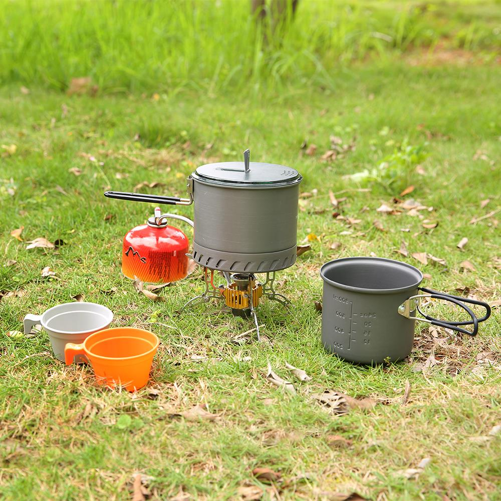 Image 5 - Portable Camping Cookware Kit 4Pcs for Hiking Backpacking 4 Piece Lightweight Durable Pot Cup Bowls Camping Stove-in Outdoor Stoves from Sports & Entertainment