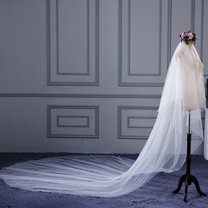 Image 4 - High Quality 3 m long 2 Tiers Cover Face Cathedral Wedding Veil with Comb New Bridal Veil
