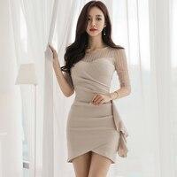 Korean Mesh Patchwork Dress Khaki Bodycon Sexy Women Summer 2019 O Neck Ruffles Pencil See Through Mesh Dress Mini Dress