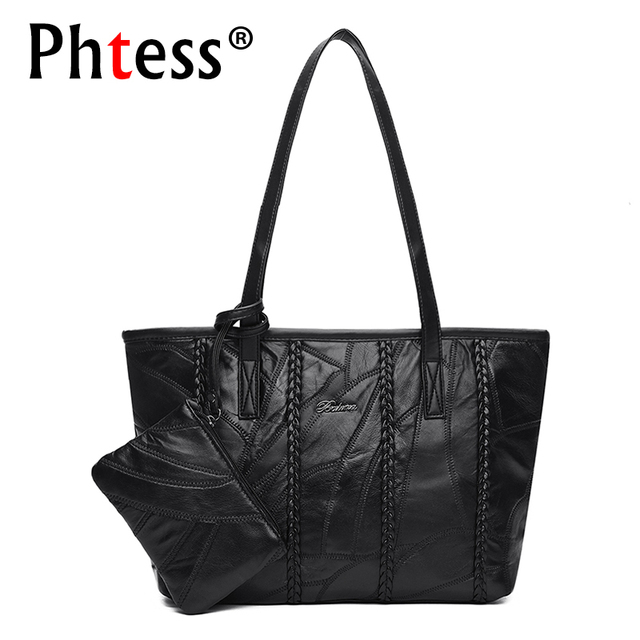 f5ebbc9f581e 2018 Casual Tote Bags Set Large Capacity Black Women Leather Handbags  Luxury Brand Bags Designer Ladies Vintage Shoulder Bags