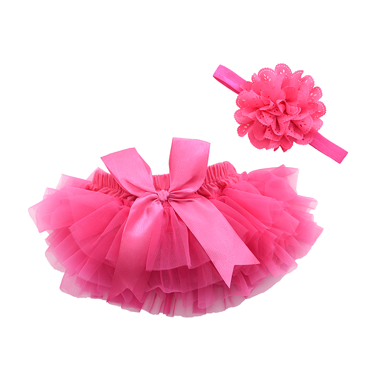 Baby Cotton Chiffon Ruffled Bloomer Newborn Flower Shorts With Headband Toddler