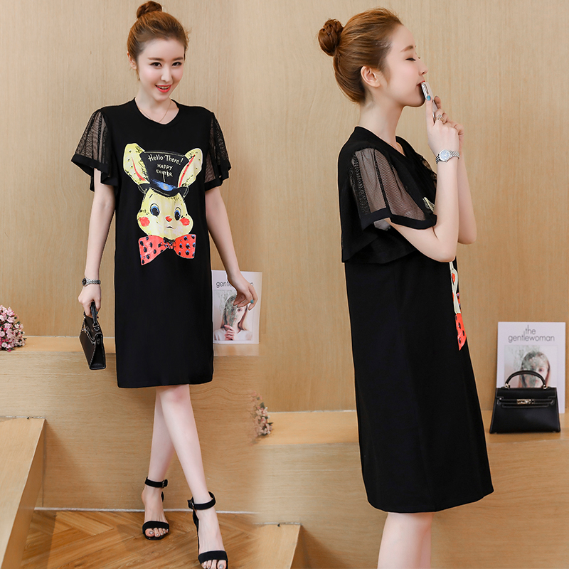fde086179310f US $27.29 |Plus Size 2018 New Summer Women dress Slim Big Girl Fat Younger  Sisterlly Dresses Black 1811-in Dresses from Women's Clothing on ...