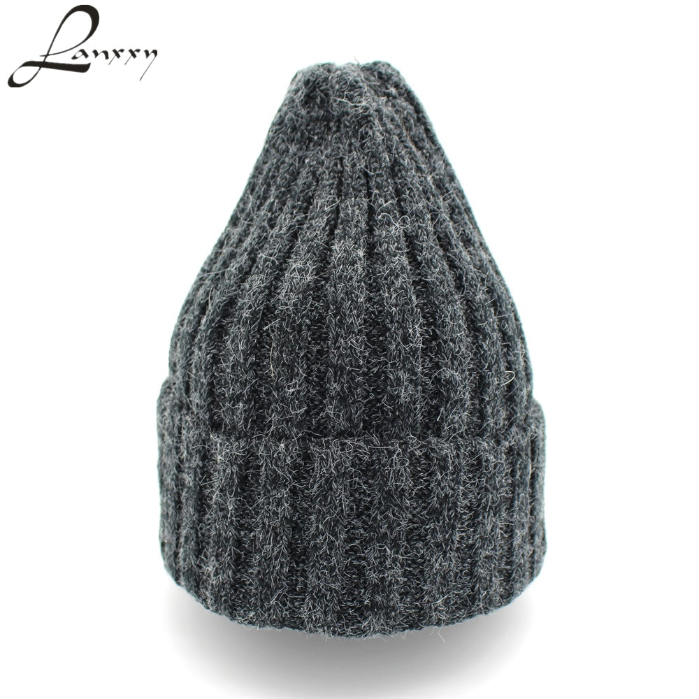 Lanxxy Rabbit Fur Cotton Knitted Beanies Hats for Women Girls Winter Hat Touca Skullies Hip Hop Cap Gorro 2016 limited gorro gorros brand new women s cotton hip hop ring warm beanie cap winter autumn knitted hats beanies free shipping