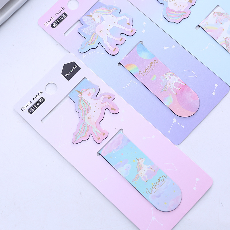 2 Pcs/pack Magical Unicorn  Magnet Bookmark Paper Clip School Office Supply Escolar Papelaria Gift Stationery