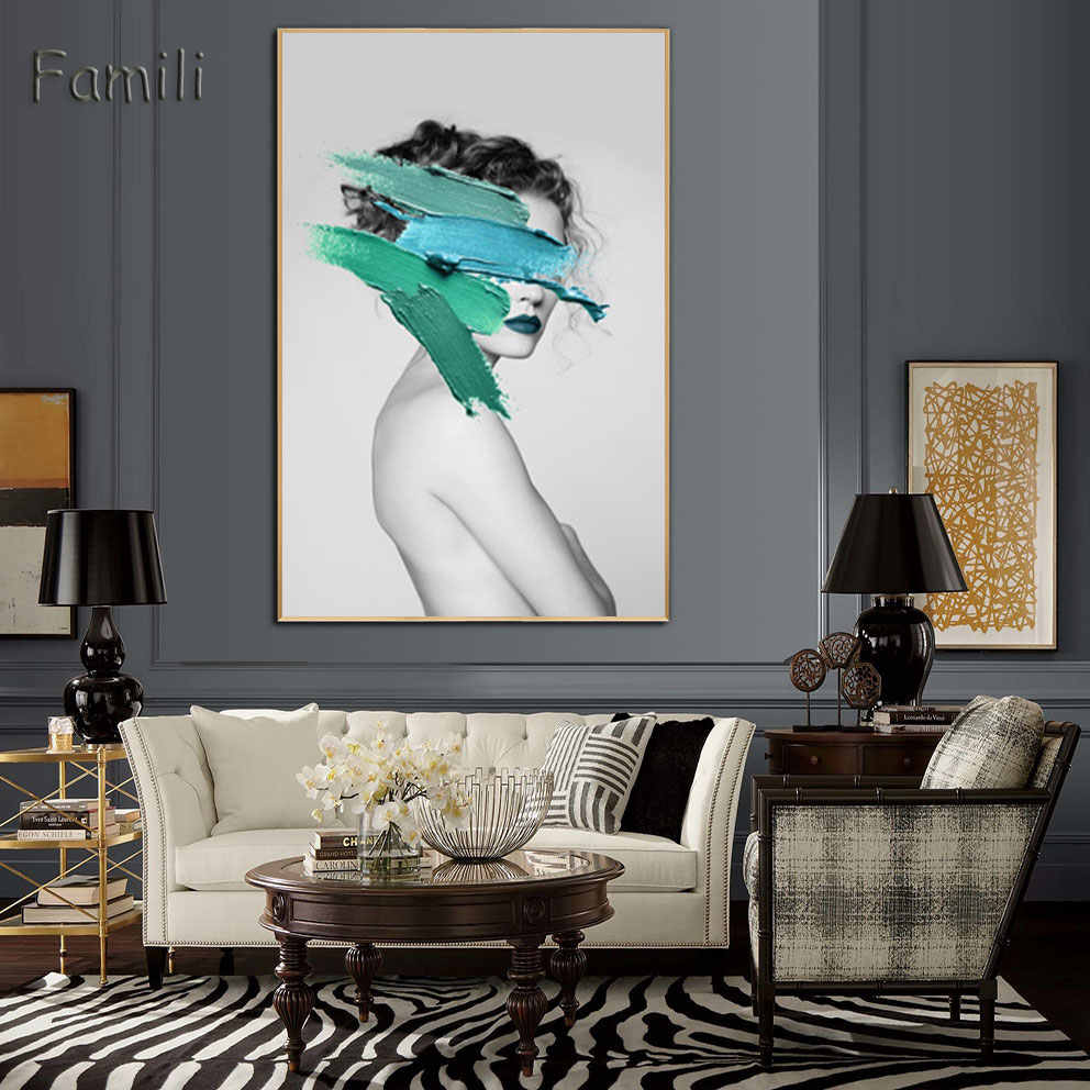 Современная Скандинавская черно-белая Картина на холсте Художественная печать настенный плакат абстрактная девушка настенные картины для спальни гостиной