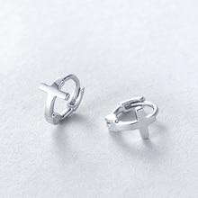 2bf9b67df739 Cruz de plata 925 Pendientes de Aro para hombres y mujeres amantes regalo  personalizado par de moda de la joyería Pendientes de .