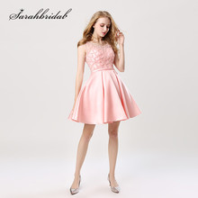 Youthful 2020 New Short Cocktail Dresses Knee Length Sleeveless A Line Zipper Back Homecoming Gowns O Neck Pearls Beads CC439