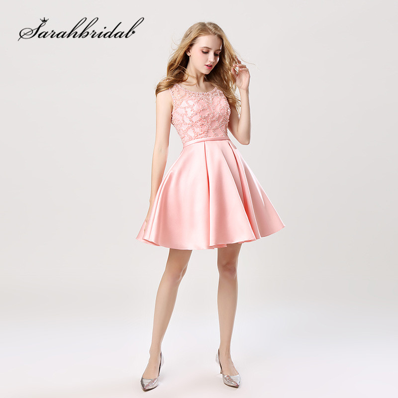 Youthful Short   Cocktail     Dresses   Knee Length Sleeveless A-Line Back Zip And Hollow Homecoming Gowns O-Neck Pearls Beads New CC439