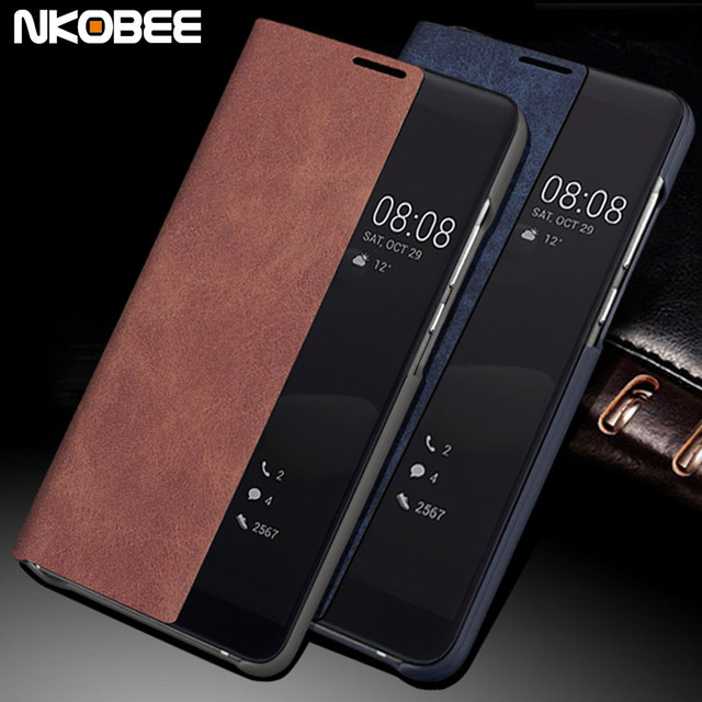 US $9 98 |NKOBEE Flip Case For Huawei Mate 10 Pro Original Smart Cover For  Huawei Mate 10 Pro Case Leather Window Phone Mate 10 Pro Case -in Flip