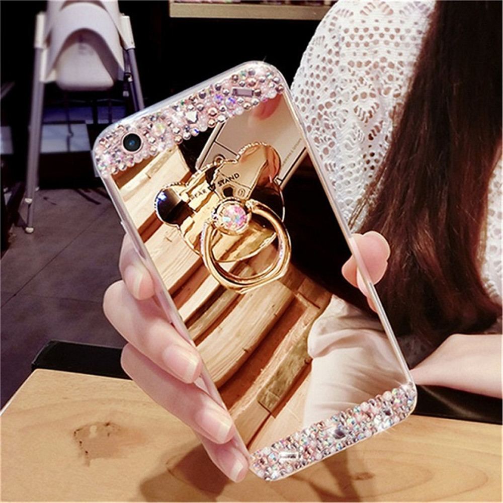 Diamond Soft Mirror Finger Ring Holder <font><b>Case</b></font> Cover for <font><b>VIVO</b></font> X23 Y81 X21i <font><b>Y83</b></font> Y71 Y85 V9 V7 Plus Y79 Glitter Bling Rhinestone image