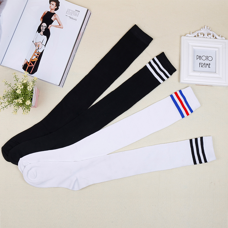 UPHYD Knee High School Socks Cotton School Uniform Socks Japanese Striped School Girl Stocking