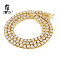 TBTK One Row Zircon Tennis Chain Link Necklace Roes Gold Beautiful Necklace Width 5mm Luxury Neckalce Punk Style for Hiphop Man