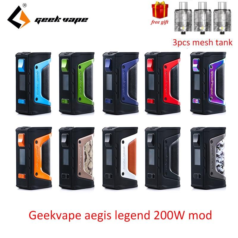 Livraison cadeau GeekVape L'égide mod l'égide Légende 200 w TC Boîte MOD Alimenté par Double 18650 batteries e cig Pas batterie pour zeus rta blitzen