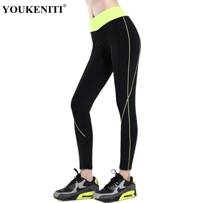 Youkeniti 2018 новый спортивный костюм женский в полоску Леггинсы Узкие упражнения спортивные брюки Activewear тренировки Штаны с высокой посадкой