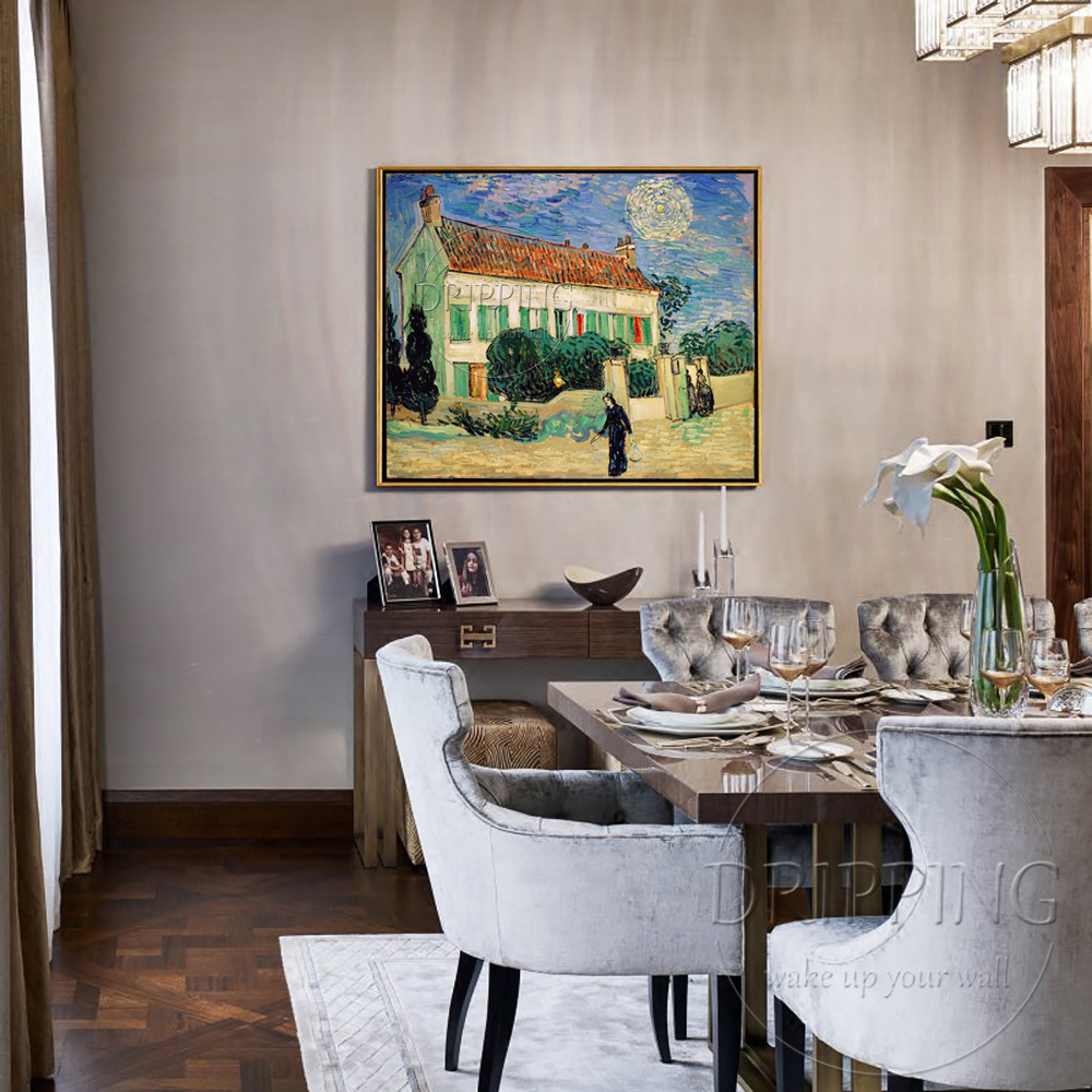 Artist Reproduce High Quality Van Gogh Oil Painting Hand painted Impression Landscape The White House at Night Oil Painting in Painting Calligraphy from Home Garden